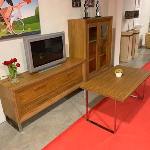 Mueble salon composicion modular acabado arena roble 202 + mesa de centro