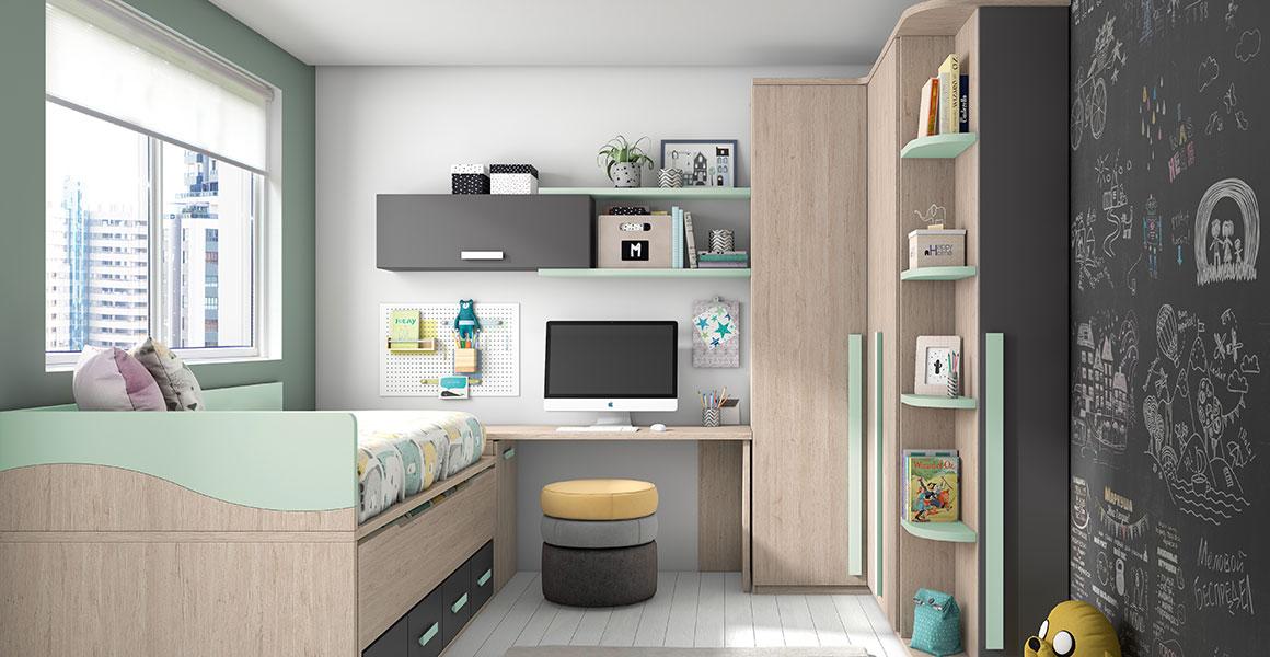 Si buscas grandes soluciones para habitaciones pequeñas este dormitorio juvenil es la elección perfecta. Acabado en colores nature combinado con pizarra y nube