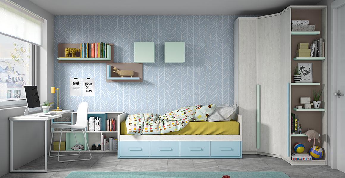 Muebles juvenil Acabado en colores ártico combinado con nube, cielo y cacao.