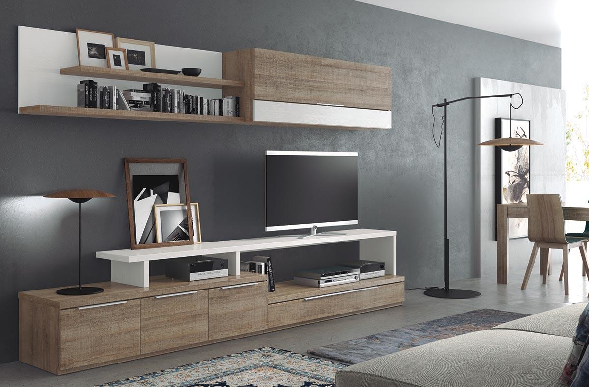 Decoración del Salón Chicago formado por un amplio mueble TV con zona de guardado y gran hueco para dispositivos multimedia.