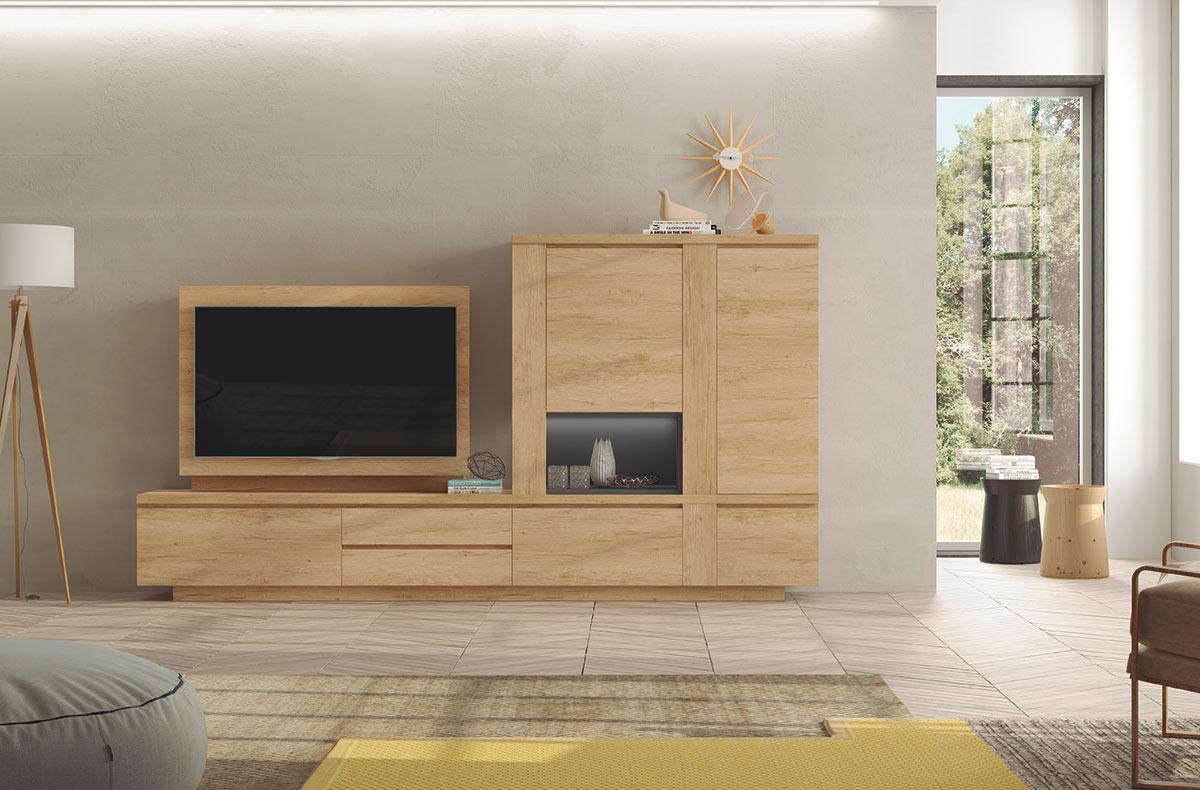 Salón Montana Salón decorado con conjunto modular de muebles para salón con base y panel para TV