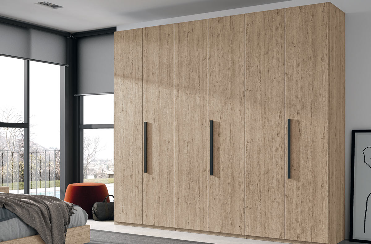 Armario de dormitorio de 6 puertas batientes