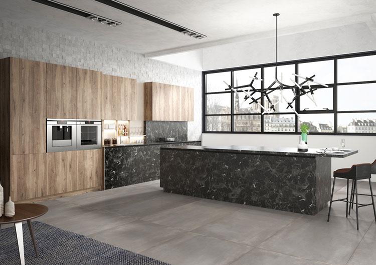 COCINA BONAC MODELO NIAGARA Elegante cocina en marmol y madera con isla central.