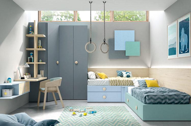 Muebles para dormitorio juvenil con 2 camas, armario de rincón y zona de estudio.
