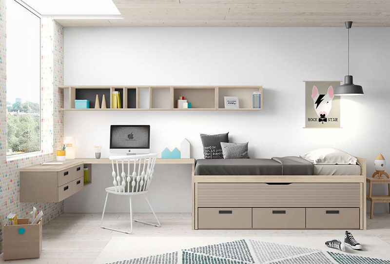 Dormitorio juvenil en colores claros