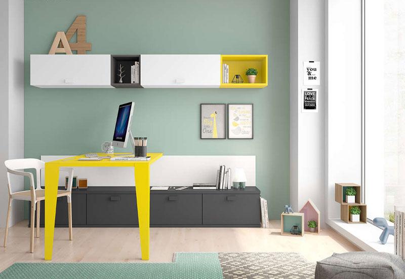 Contraste de colores en espacio juvenil.