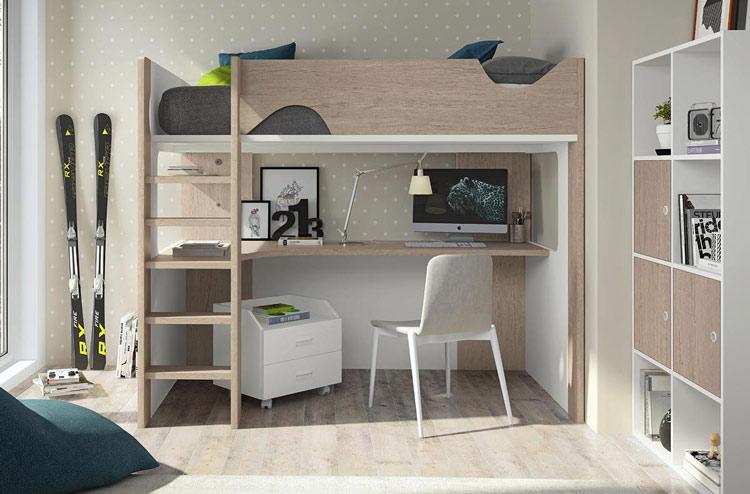 Muebles para dormitorio juvenil formado por litera con amplia zona de estudio en la parte inferior con cargador USB integrado, mesita baja de 2 cajones con pie de ruedas y mueble modular alto de galería.