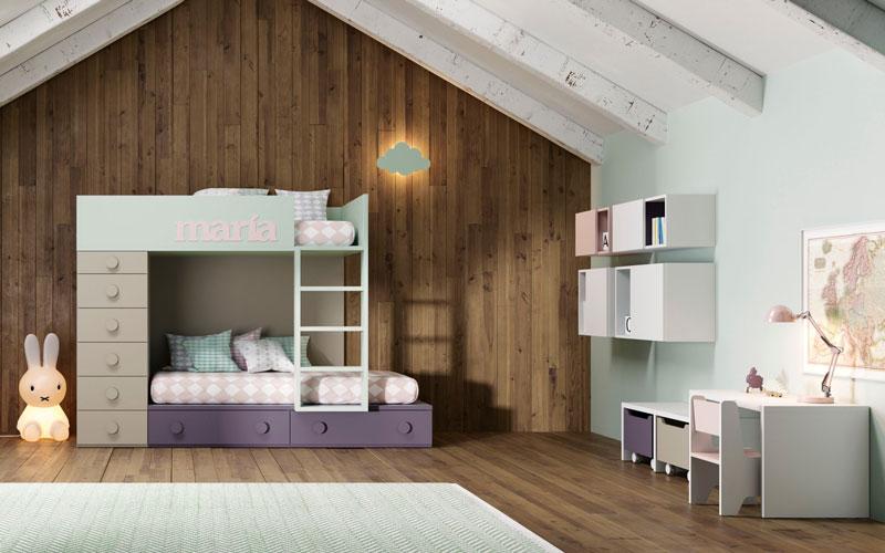 Dormitorio Juvenil con literas y cajones