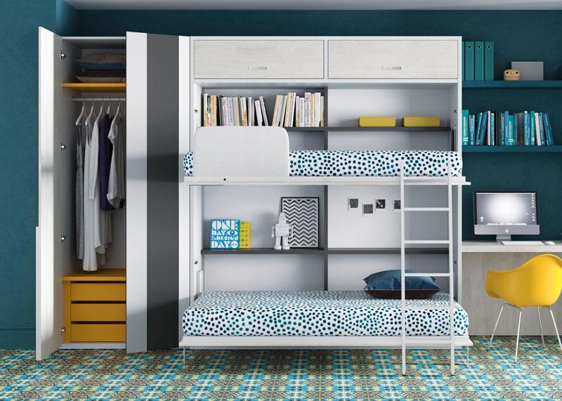 Dormitorio Juvenil con armarios abiertos.