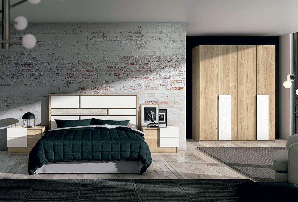 Dormitorio con estilo, acabado en colores boreal, blanco y cemento.