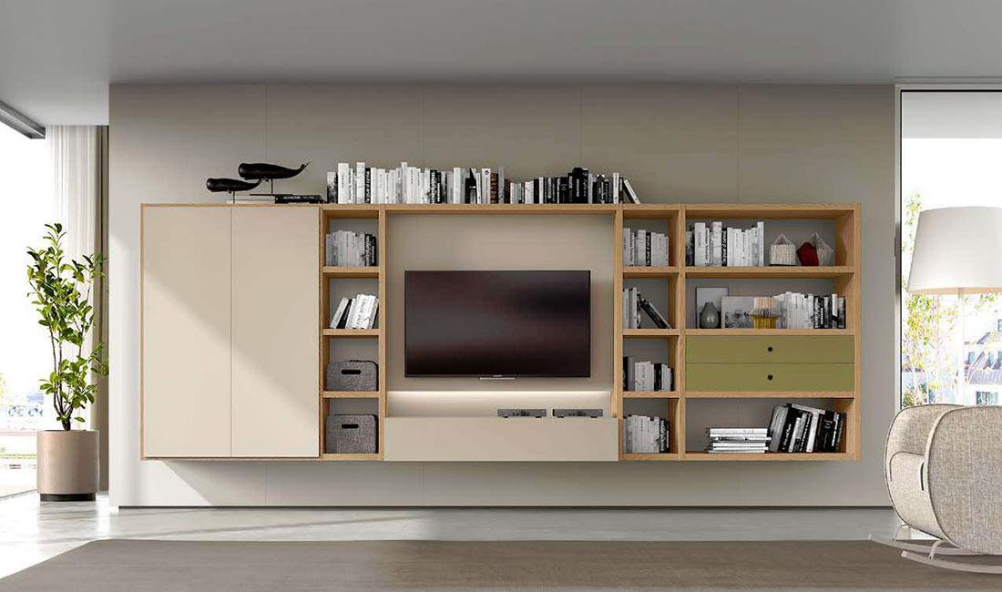 Composición modular de salón adaptada a TV
