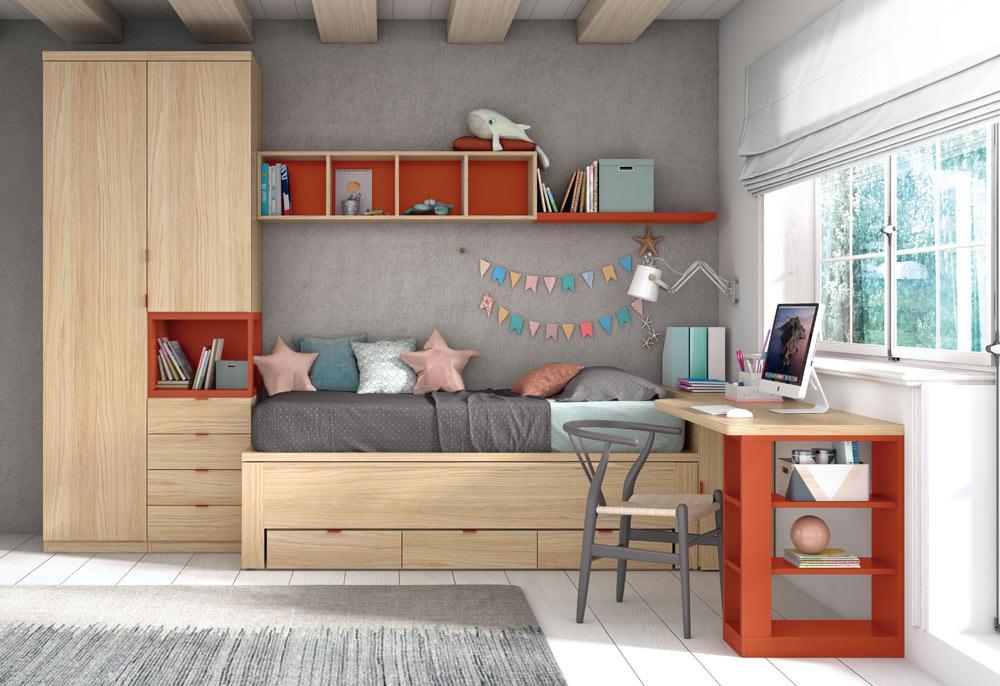 Cama compacta con cajones, armario y escritorio. En color natural y teja.