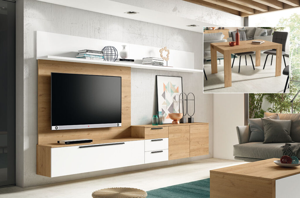 Salón modelo Guess, con muebles colgados que permiten una fácil limpieza.